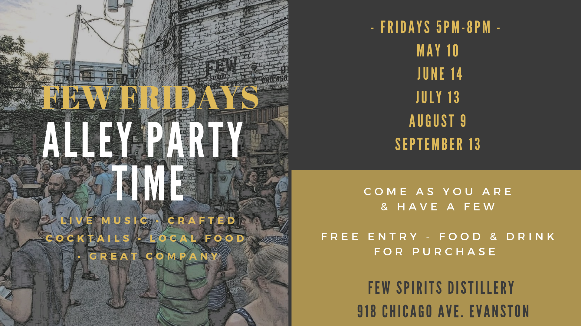 FEW FRIDAYS 2019  – Alley Party – Cocktails – Live Music – Local Food