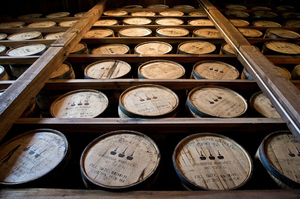 distillery barrels, wooden kegs, bourbon